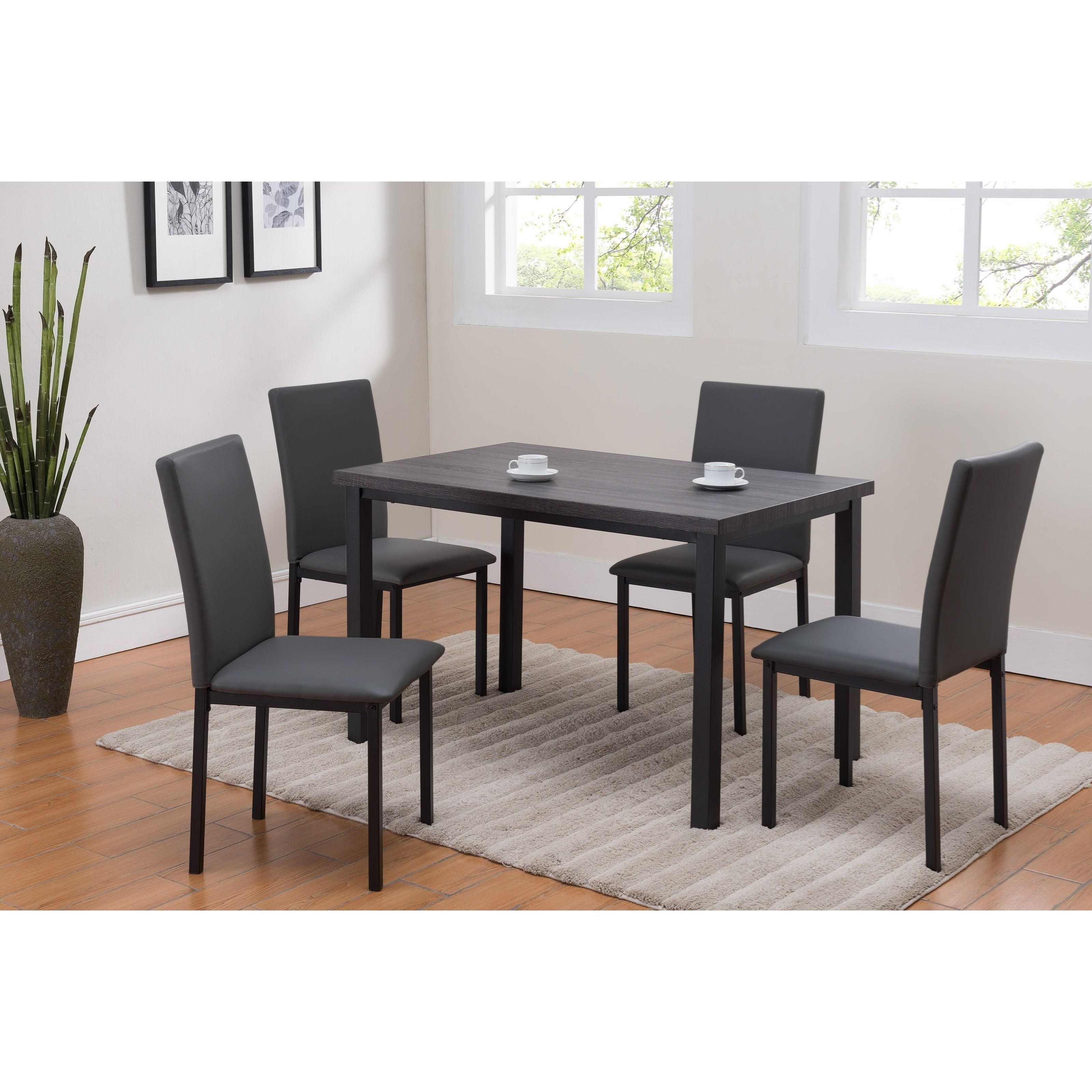 Casual 5 Piece Dinette with Table and Upholstered Chairs