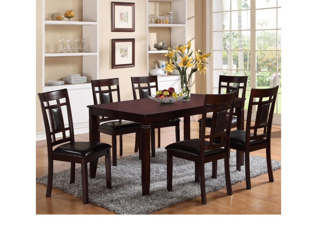 Crown Mark Paige7 Piece Table and Chair Set