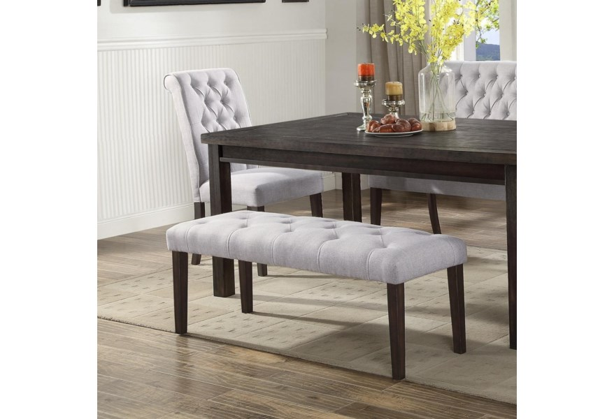 Palmer Dining Upholstered Dining Bench with Button Tufting by Crown Mark at  Dunk & Bright Furniture