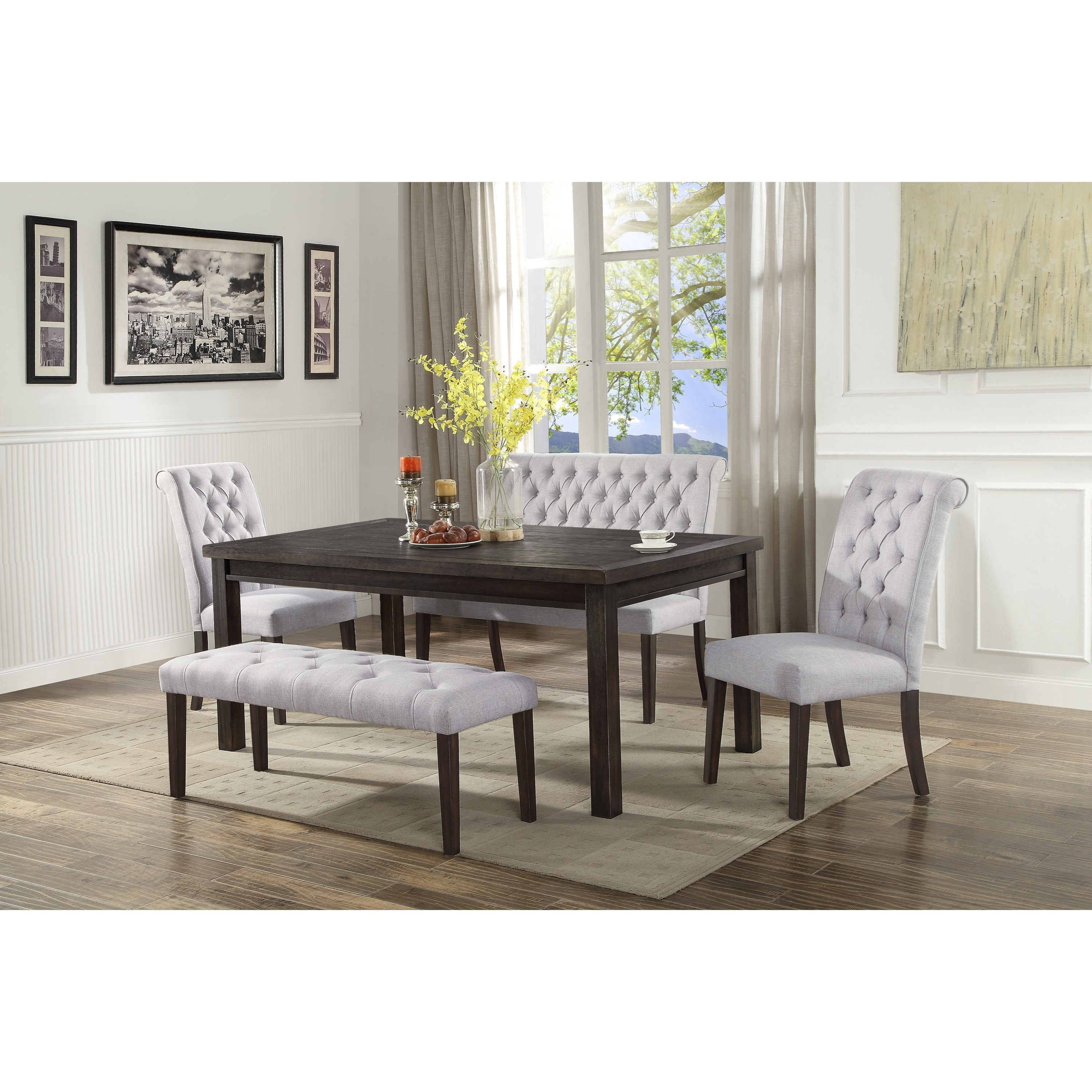 Crown Mark Palmer Dining Upholstered High Back Dining Bench With Button Tufting Wayside Furniture Dining Benches
