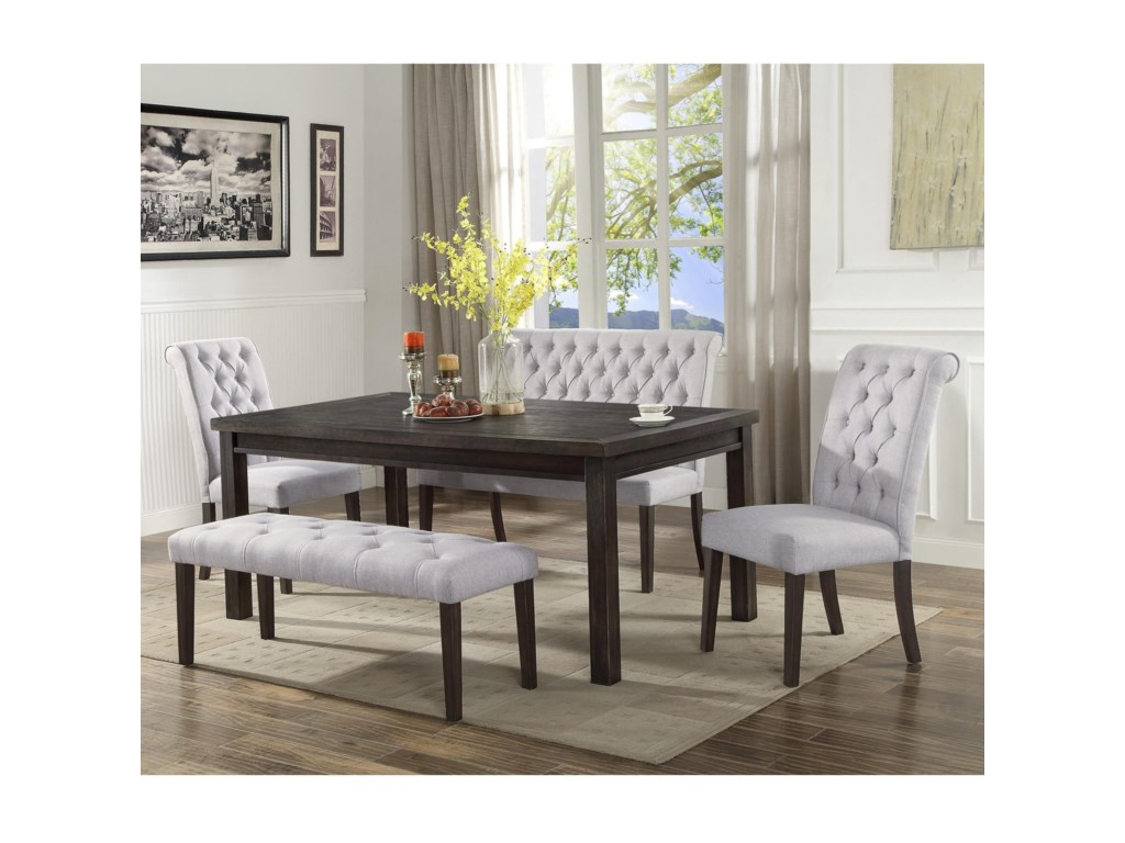 Crown Mark Palmer Dining Transitional Set With Two Benches