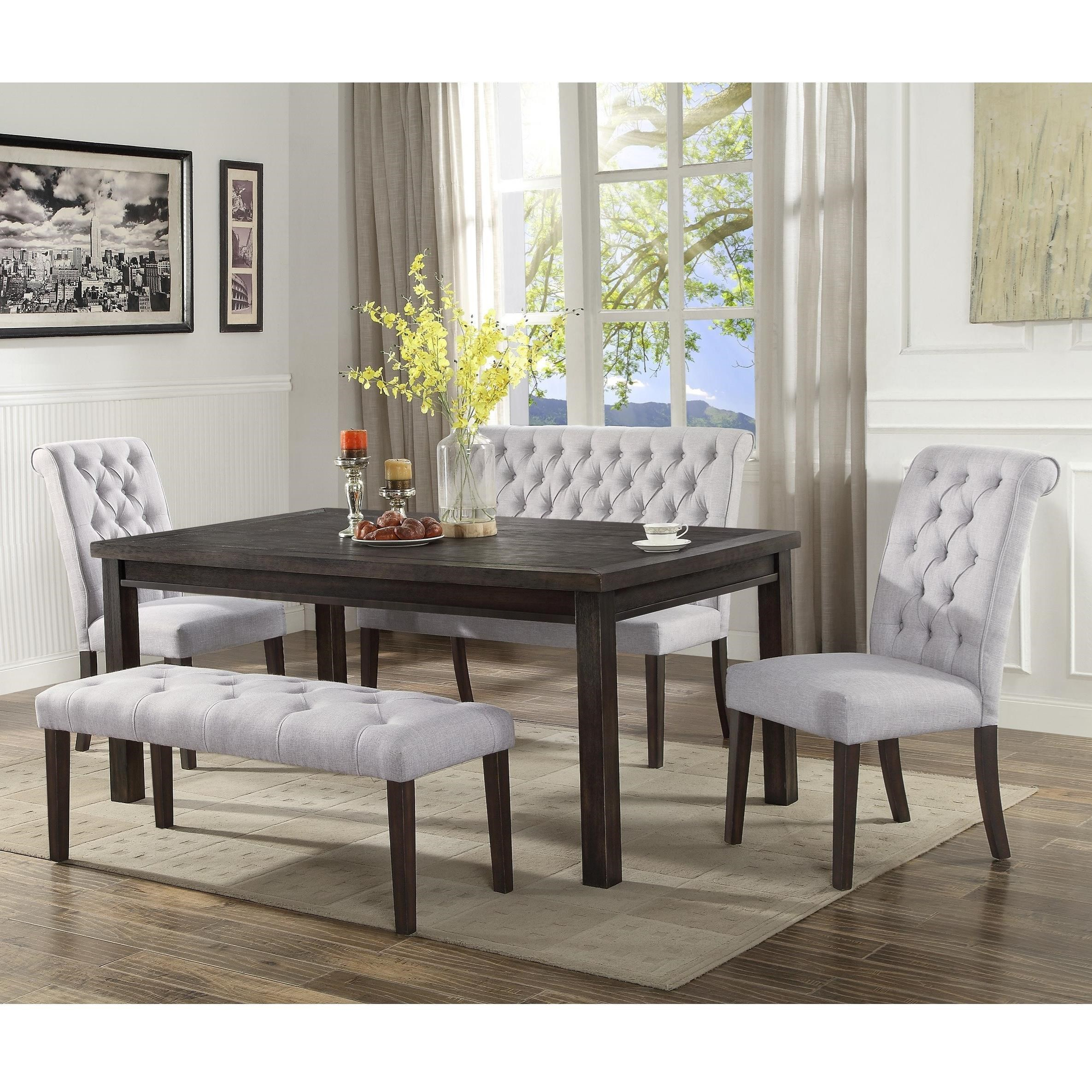 Crown Mark Palmer Dining Transitional Dining Set With Two Benches