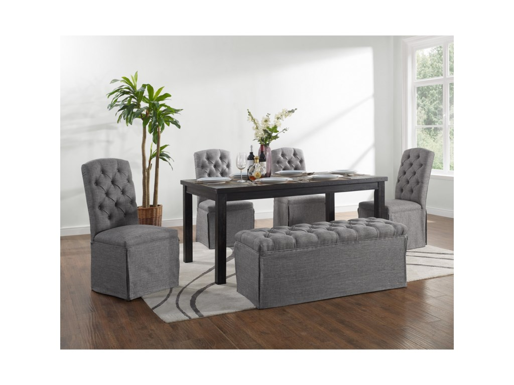 Crown Mark Palmer Dining6 Piece Table and Chair Set with Bench