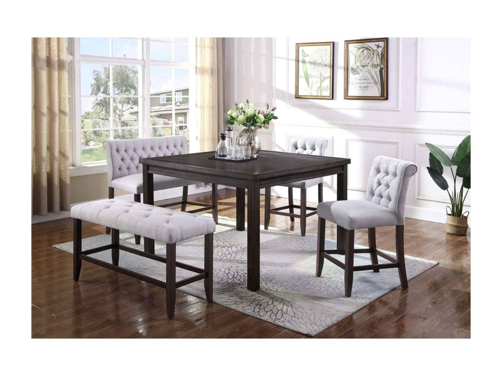 Crown Mark Palmer Dining5 Piece Counter Table, Chair and Bench Set