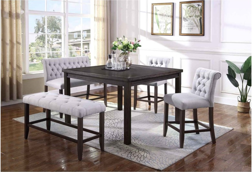 Palmer Dining 5 Piece Counter Height Table And Upholstered Chair Bench Set By Crown Mark At Dunk Bright Furniture
