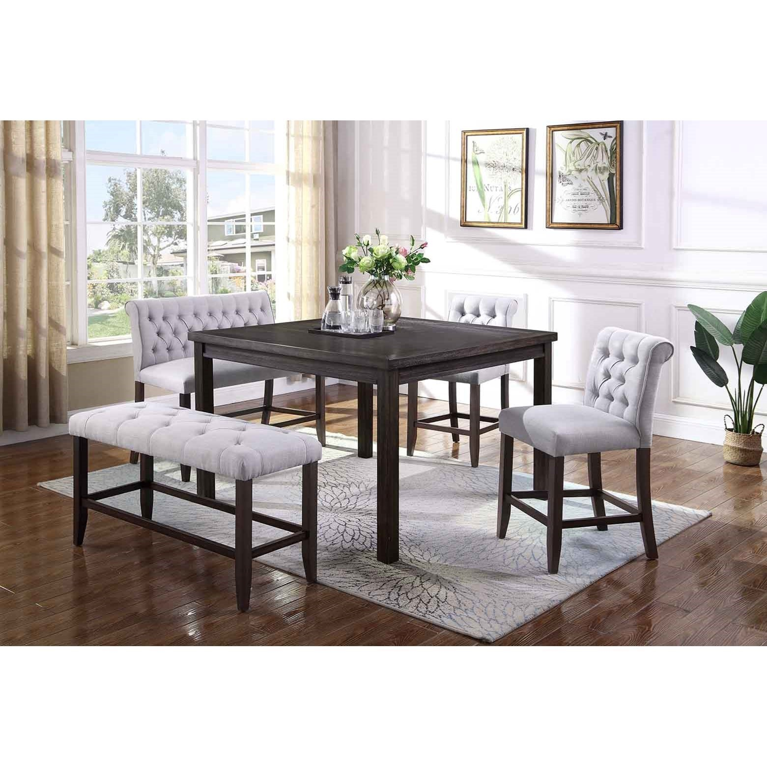 Crown Mark Palmer Dining5 Piece Counter Table, Chair And Bench Set ...
