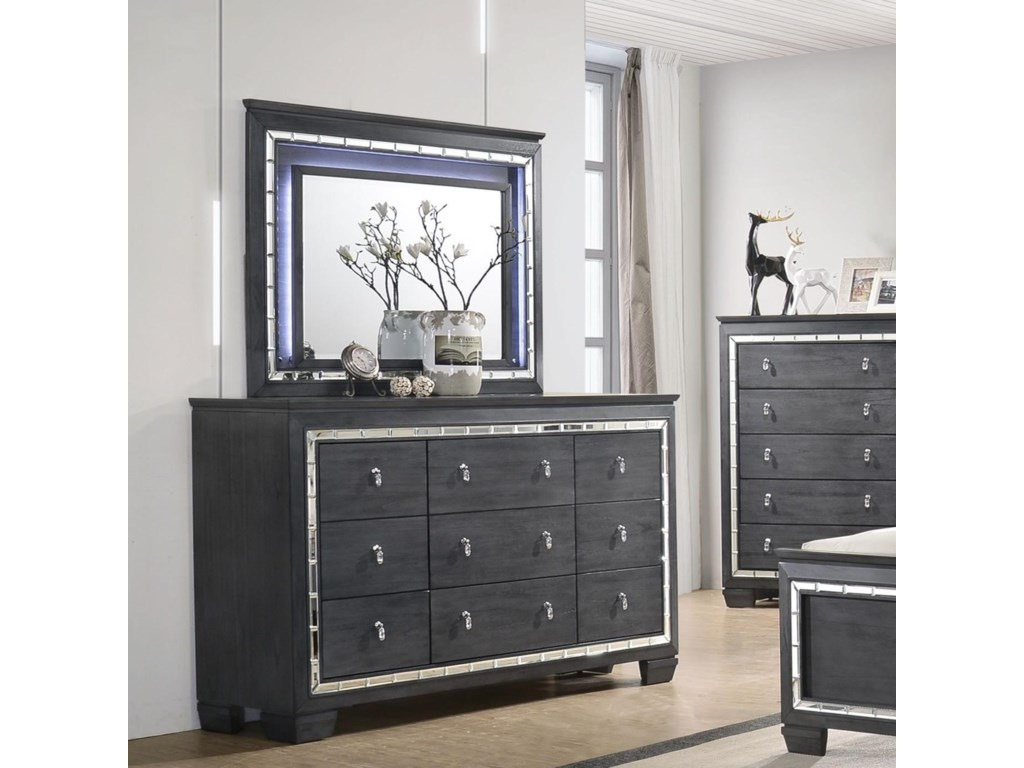 quality design b3c43 09ac5 Perina Glamorous Dresser and Mirror Set with LED Light by Crown Mark at  Household Furniture