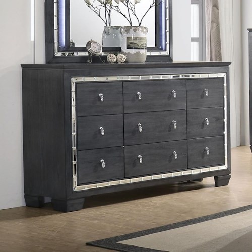 Crown Mark Perina Contemporary Dresser with Mirror Accents