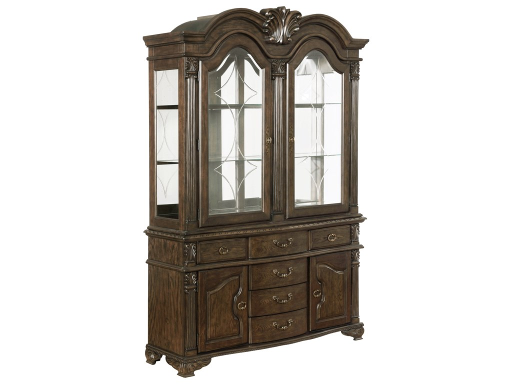 Pierre Traditional China Cabinet With Six Drawers And Touch Display Lighting By Crown Mark