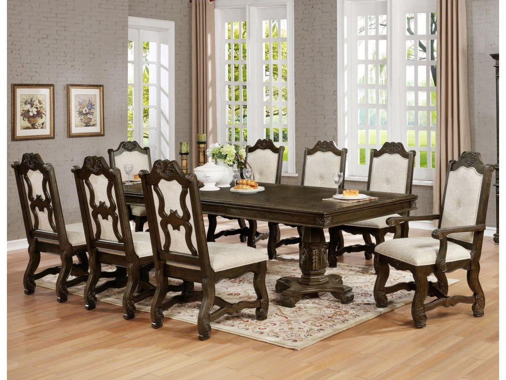 Crown Mark Pierre9 Pc Dining Set