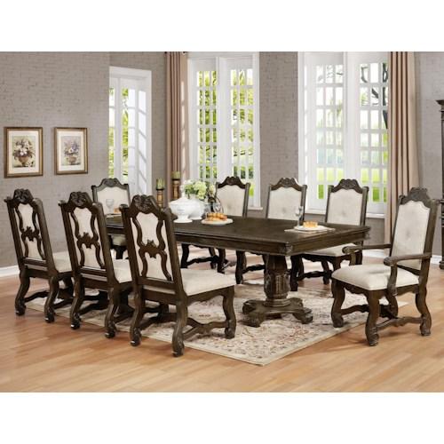 Crown Mark Pierre Traditional Nine Piece Dining Set with Pedestal Table and Two Extension Leaves