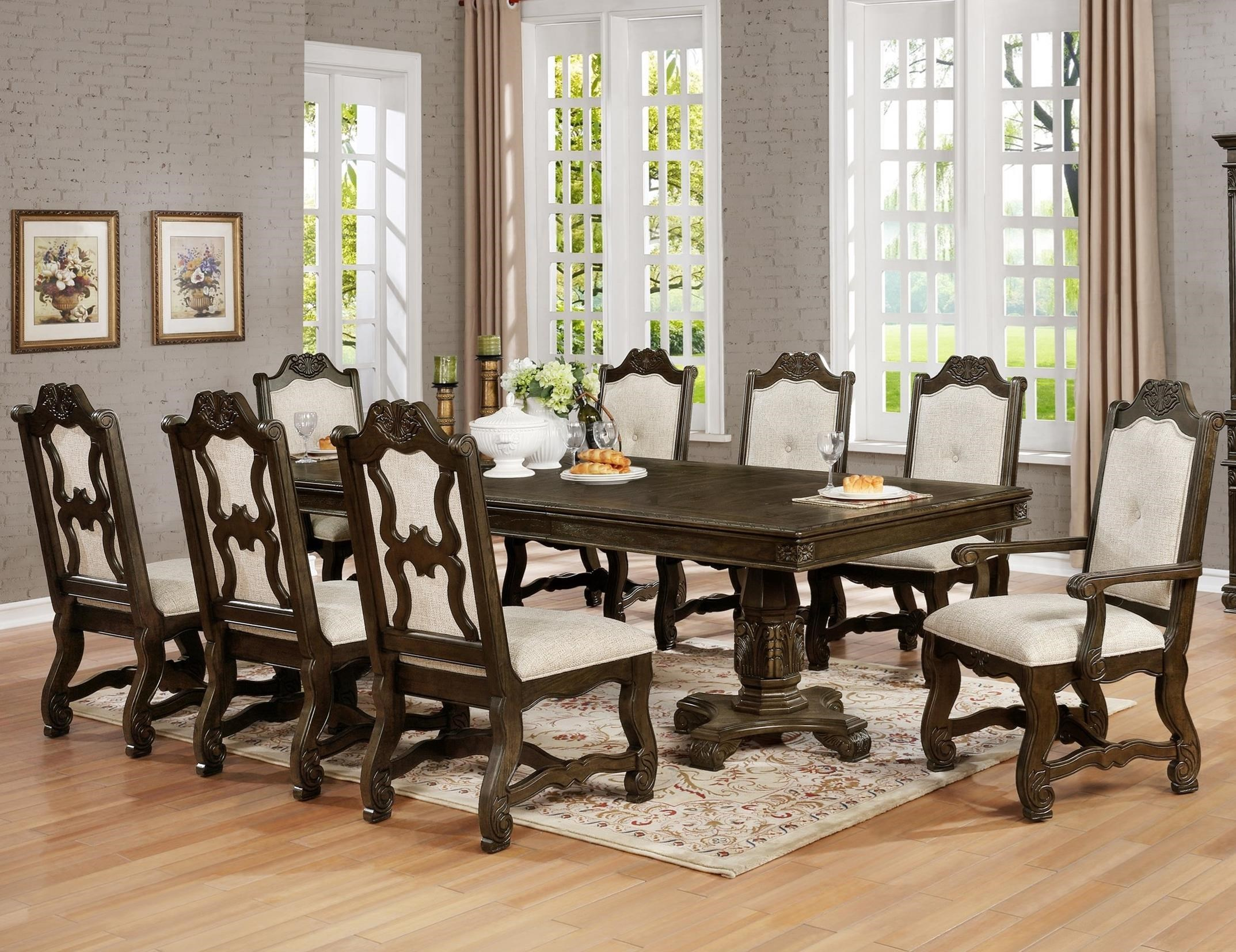 Charmant Pierre Traditional Nine Piece Dining Set With Pedestal Table And Two  Extension Leaves By Crown Mark