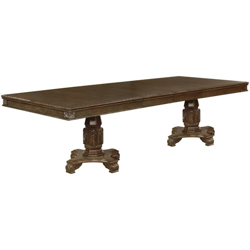 Crown Mark Pierre Traditional Dining Table with Carved Pedestals and Two Table Extension Leaves