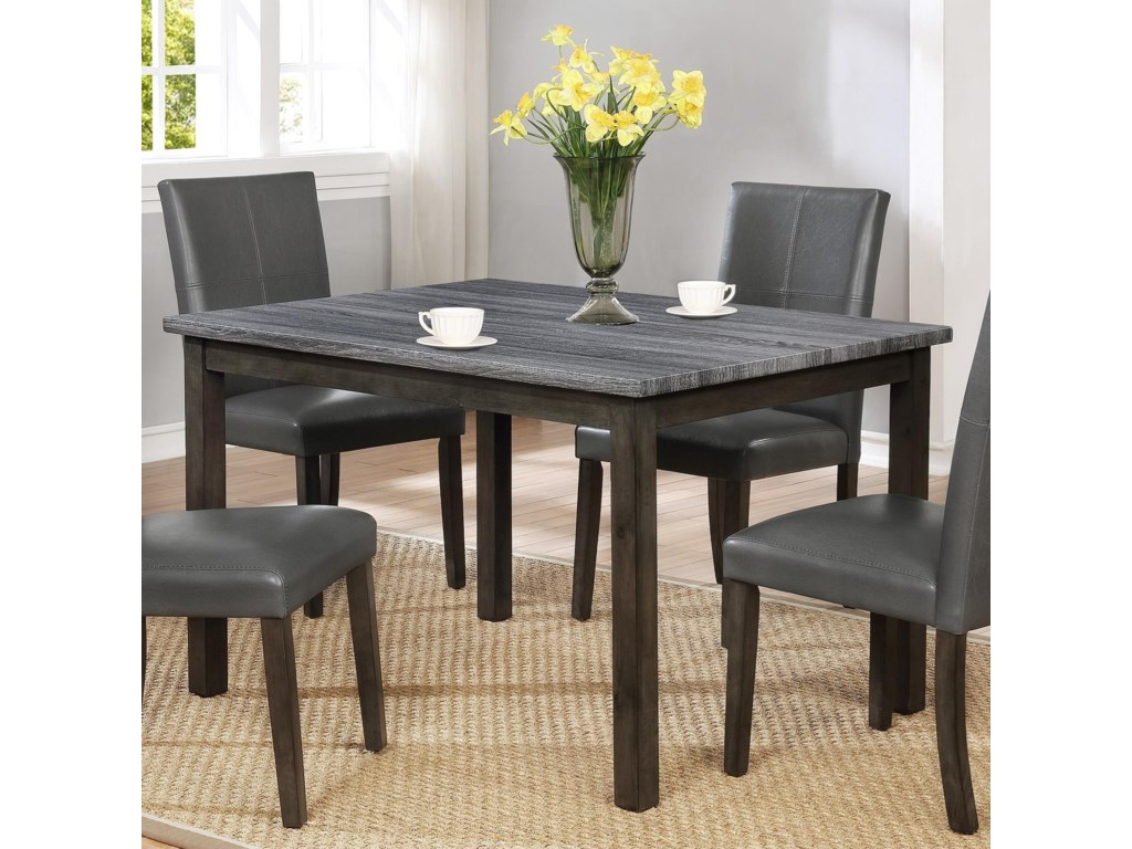 Crown Mark Pompei Two Tone Rectangular Dining Table with Weathered ...