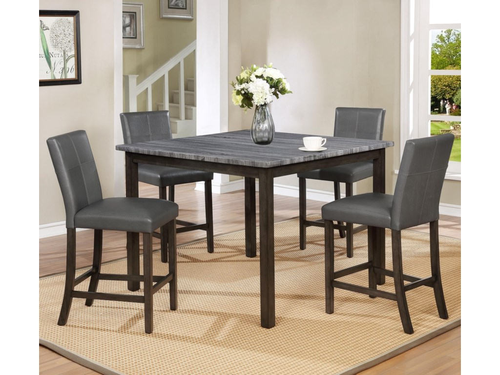 Crown Mark Pompei5 Pc Counter Height Dining Set