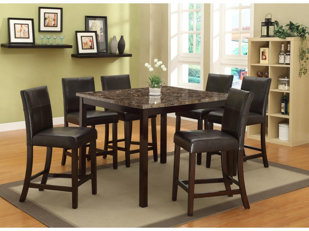 Crown mark pompei 7 piece counter height table set with faux marble crown mark pompei 7 piece counter height table set watchthetrailerfo