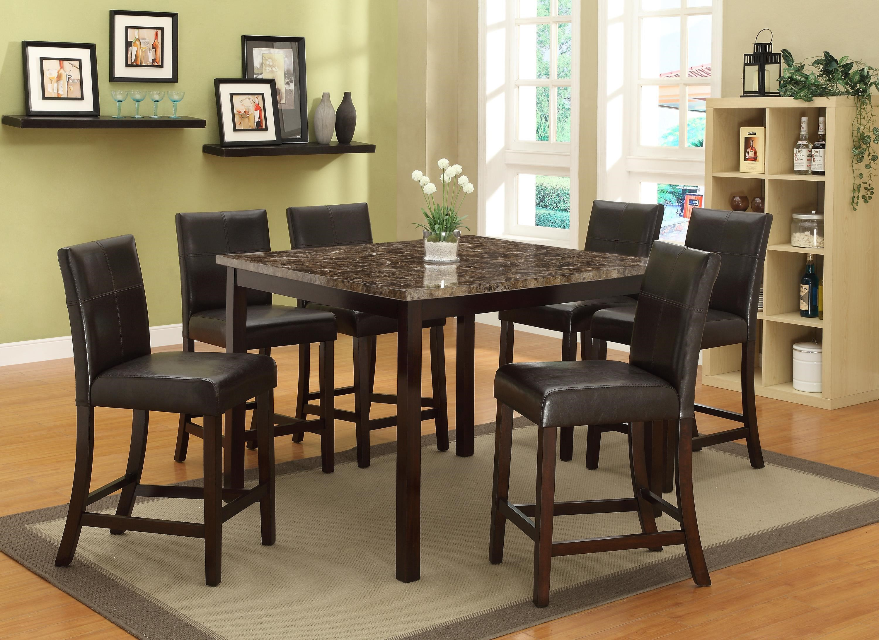 Crown Mark Pompei 7 Piece Counter Height Table Set With Faux Marble Top