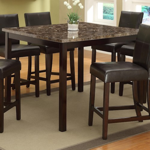Crown Mark Pompei  Faux Marble Top Counter Height Table