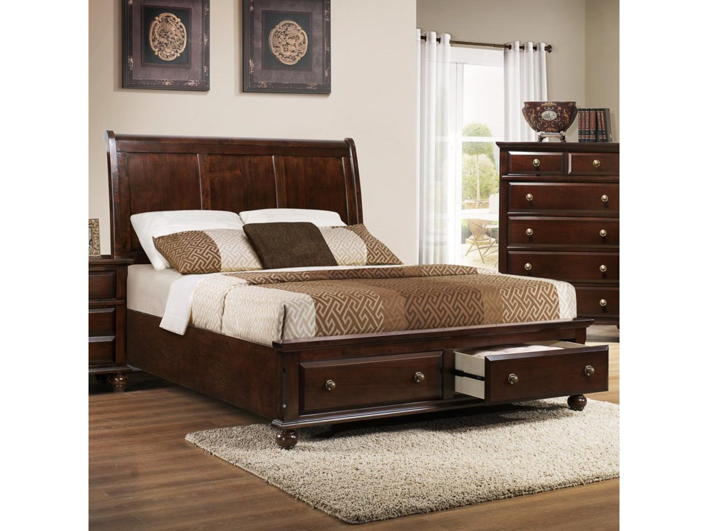 Crown Mark Portsmouth B Queen Panel Bed With Storage Footboard - Bedroom furniture portsmouth
