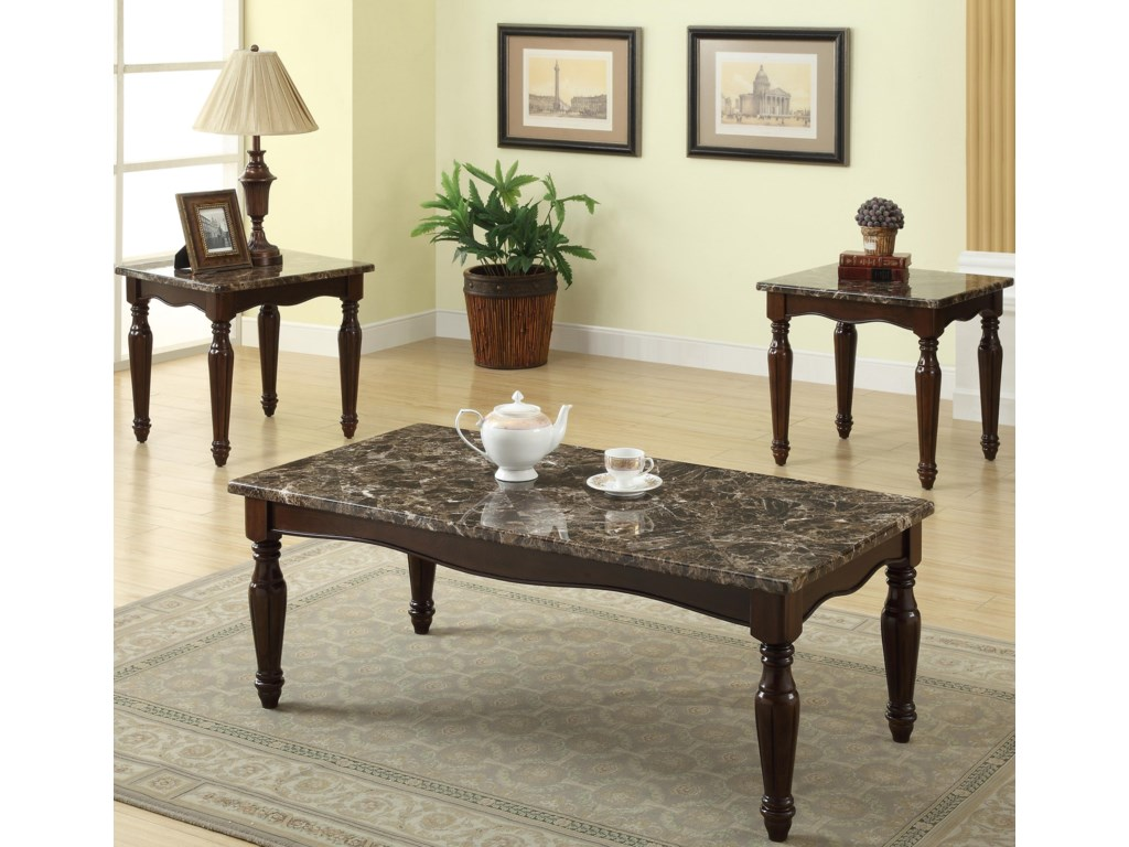 Preston 3 Pack Faux Marble Top Cocktail Set By Crown Mark At Royal Furniture