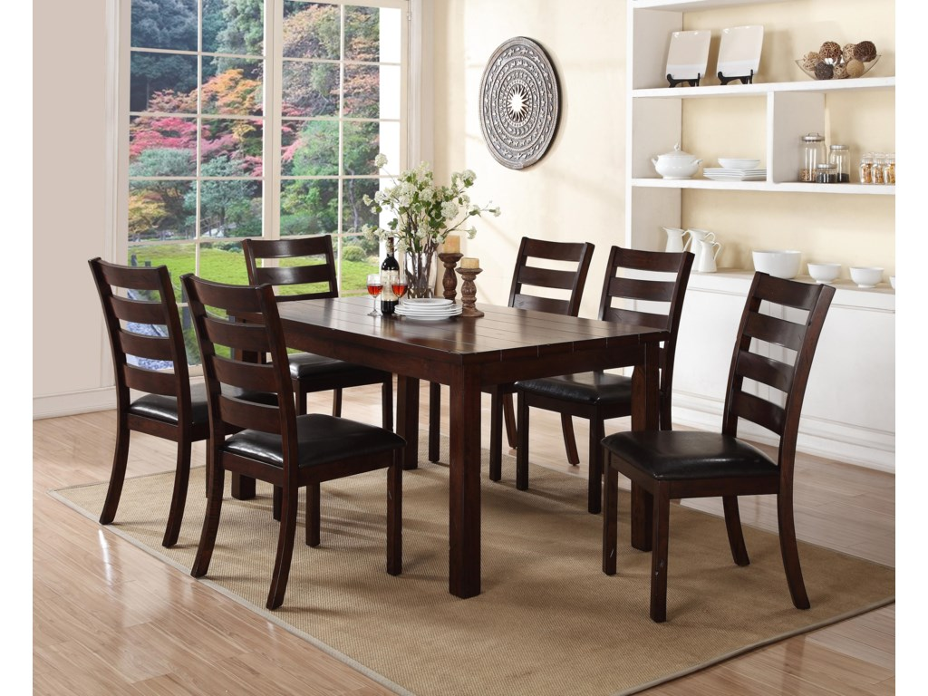 Crown Mark Quinn7 Piece Table and Chair Set