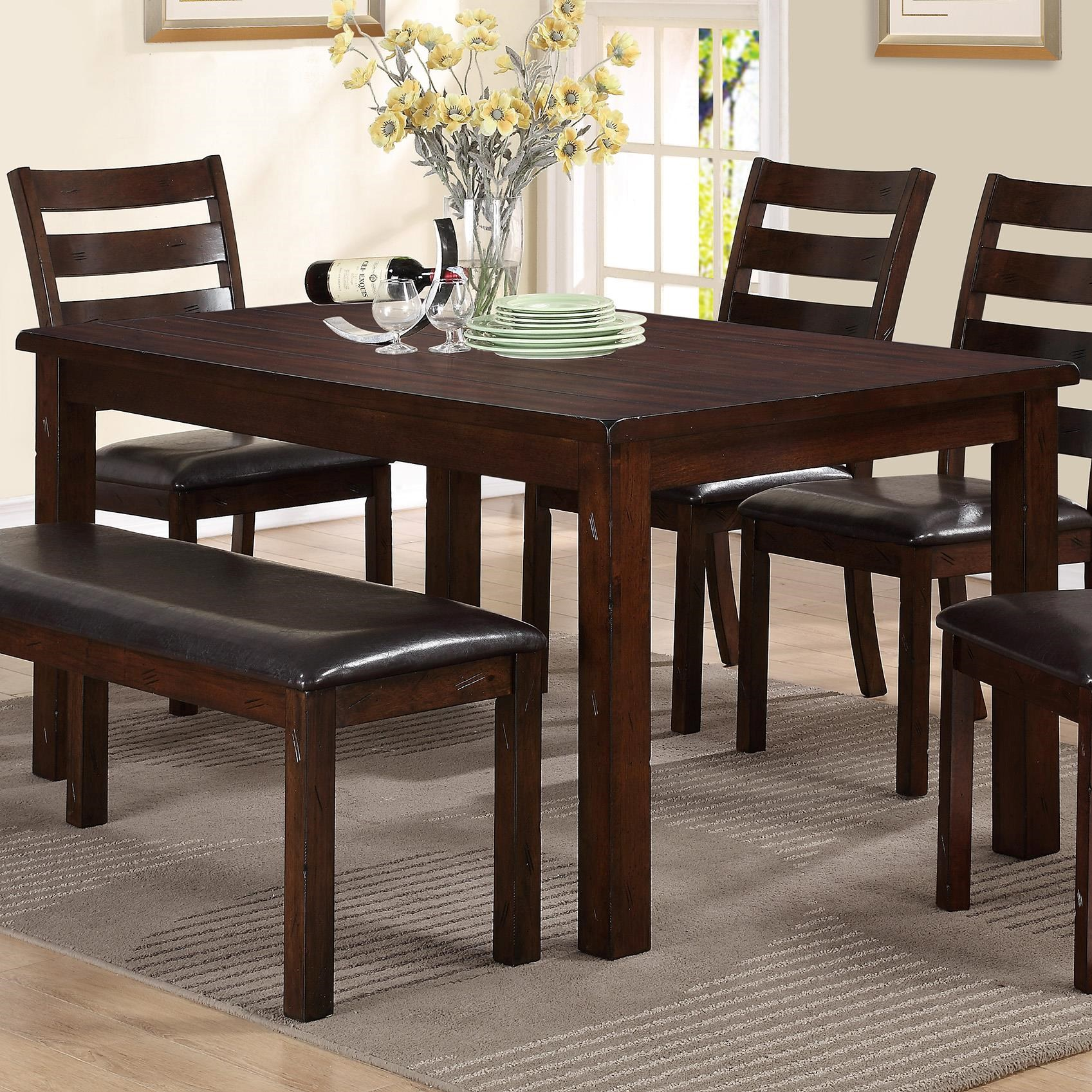 Crown Mark Quinn Rectangular Dining Table With Straight Block Legs