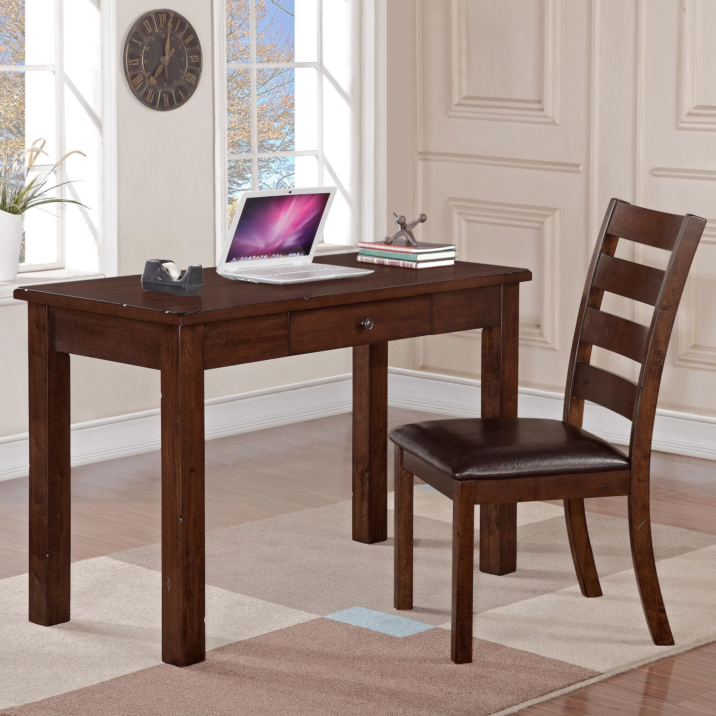 Quinn Desk And Ladder Back Side Chair Set By Crown Mark