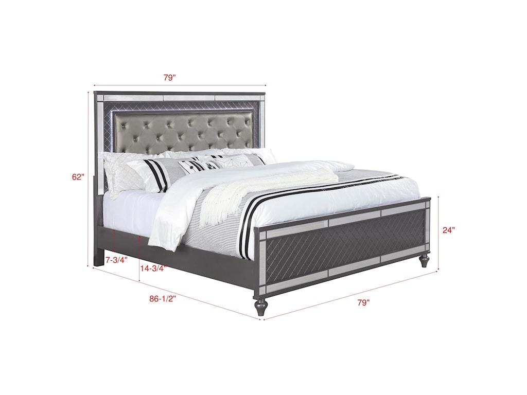 Crown Mark RefinoKing Upholstered Bed