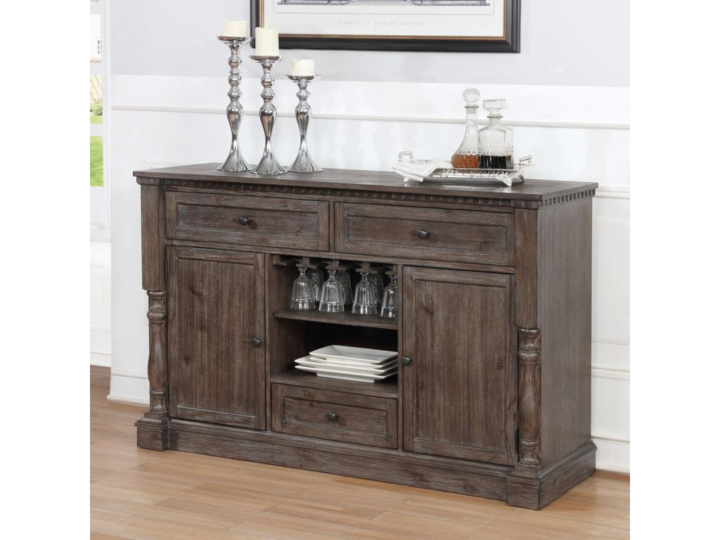 Regent Transitional Dining Room Server With Wine Gl Storage By Crown Mark