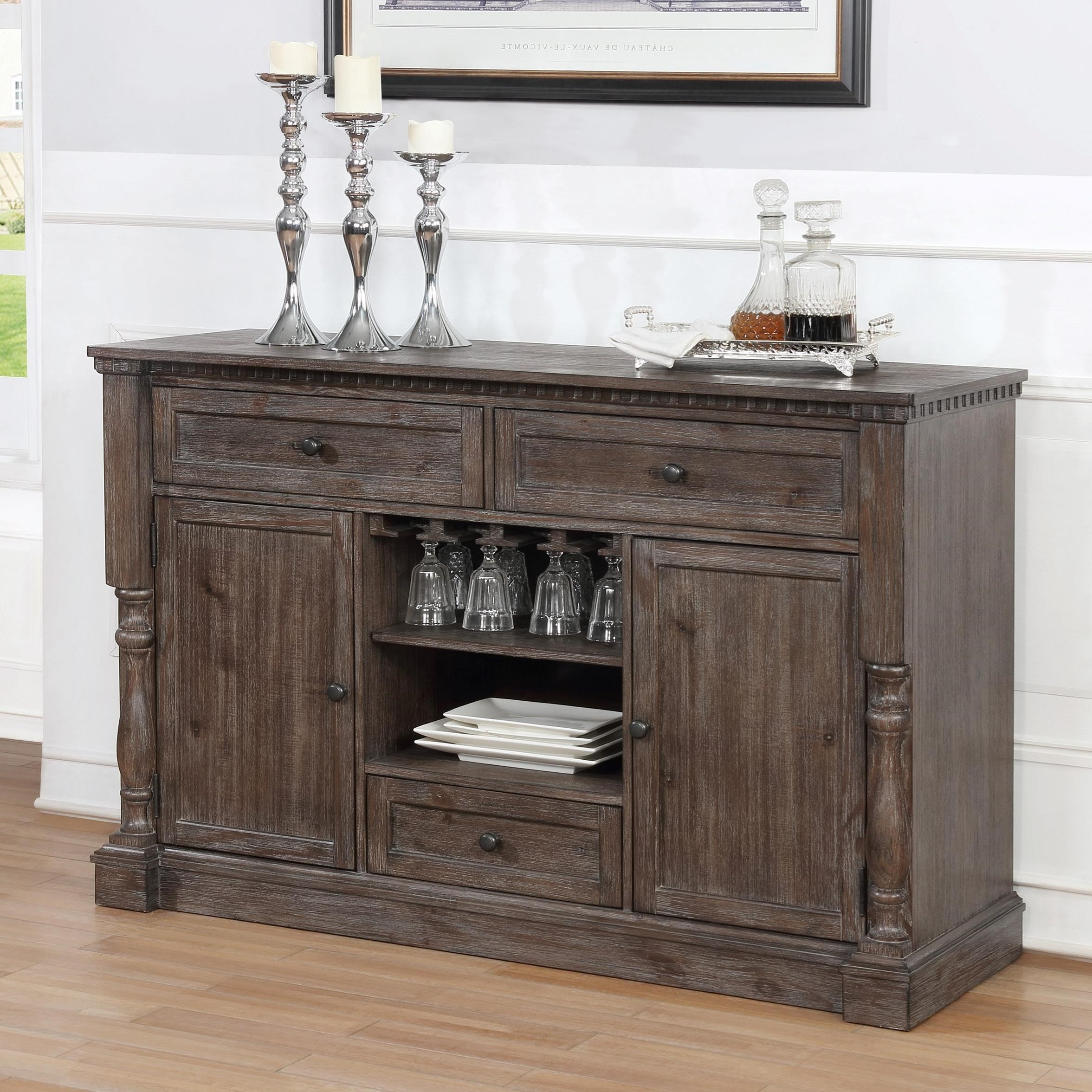 Regent Transitional Dining Room Server With Wine Glass Storage By Crown Mark