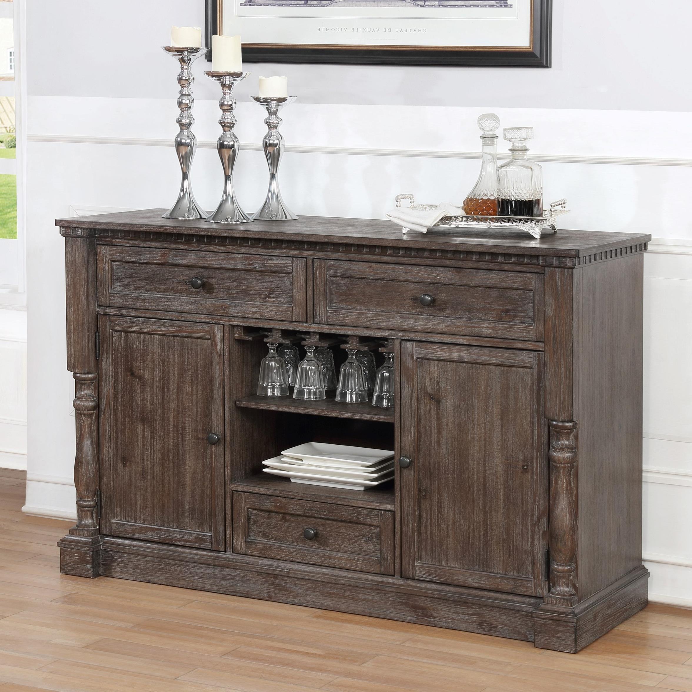 Crown Mark Regent 2270 SERVER Transitional Dining Room Server With Wine  Glass Storage | Household Furniture | Servers