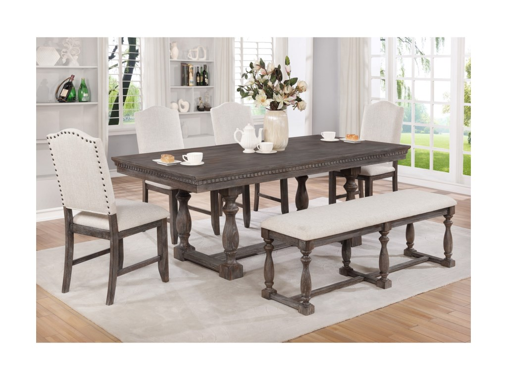 Crown Mark Regent6 Pc Dining Set with Bench