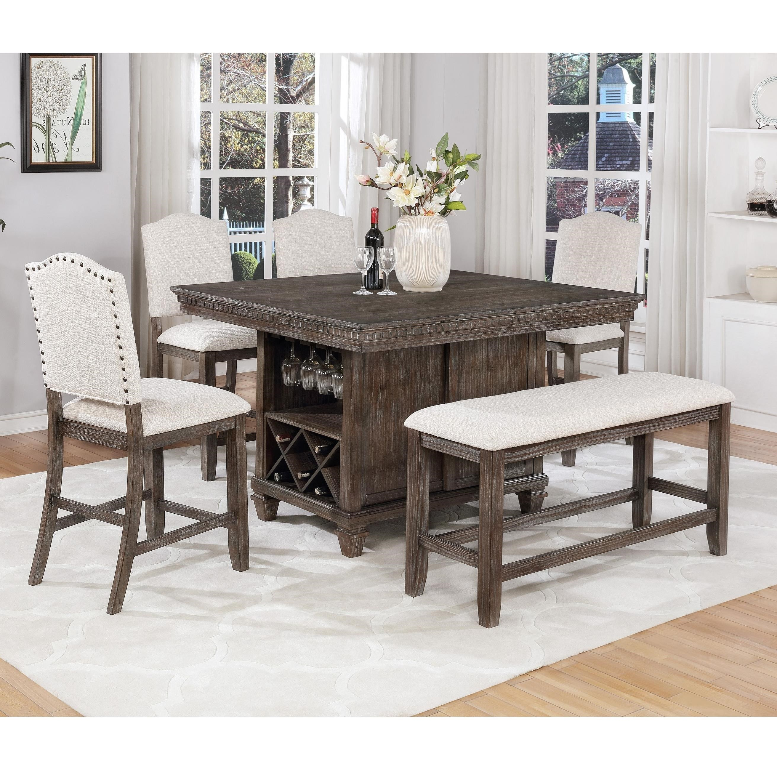 Crown Mark Regent6 Piece Counter Dining Set ...