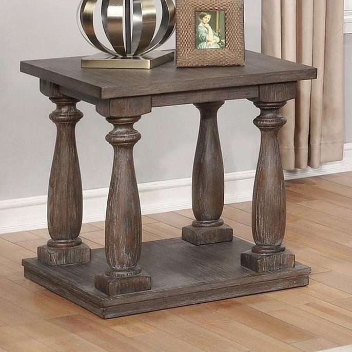 Crown Mark Regent Transitional End Table With Turned Legs