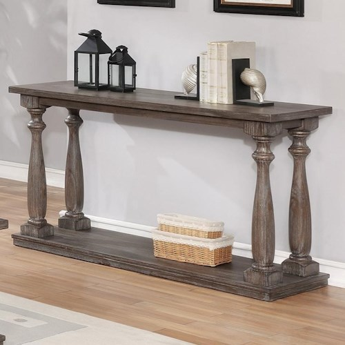 Crown Mark Regent Transitional Sofa Table With Turned Legs