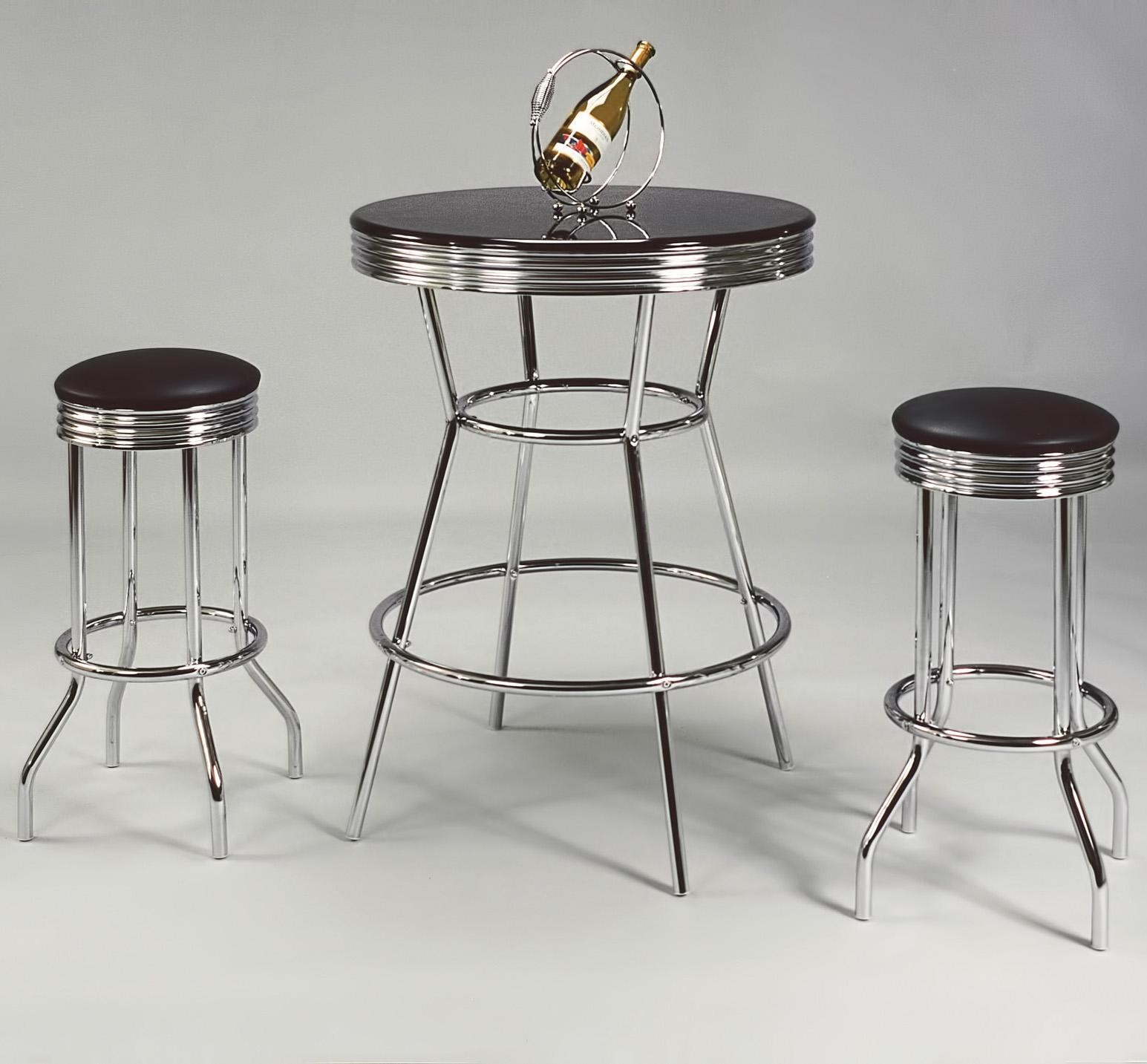 Crown Mark Retro 3 Piece Bar Table And Swivel Stools Set   Miskelly  Furniture   Pub Table And Stool Set