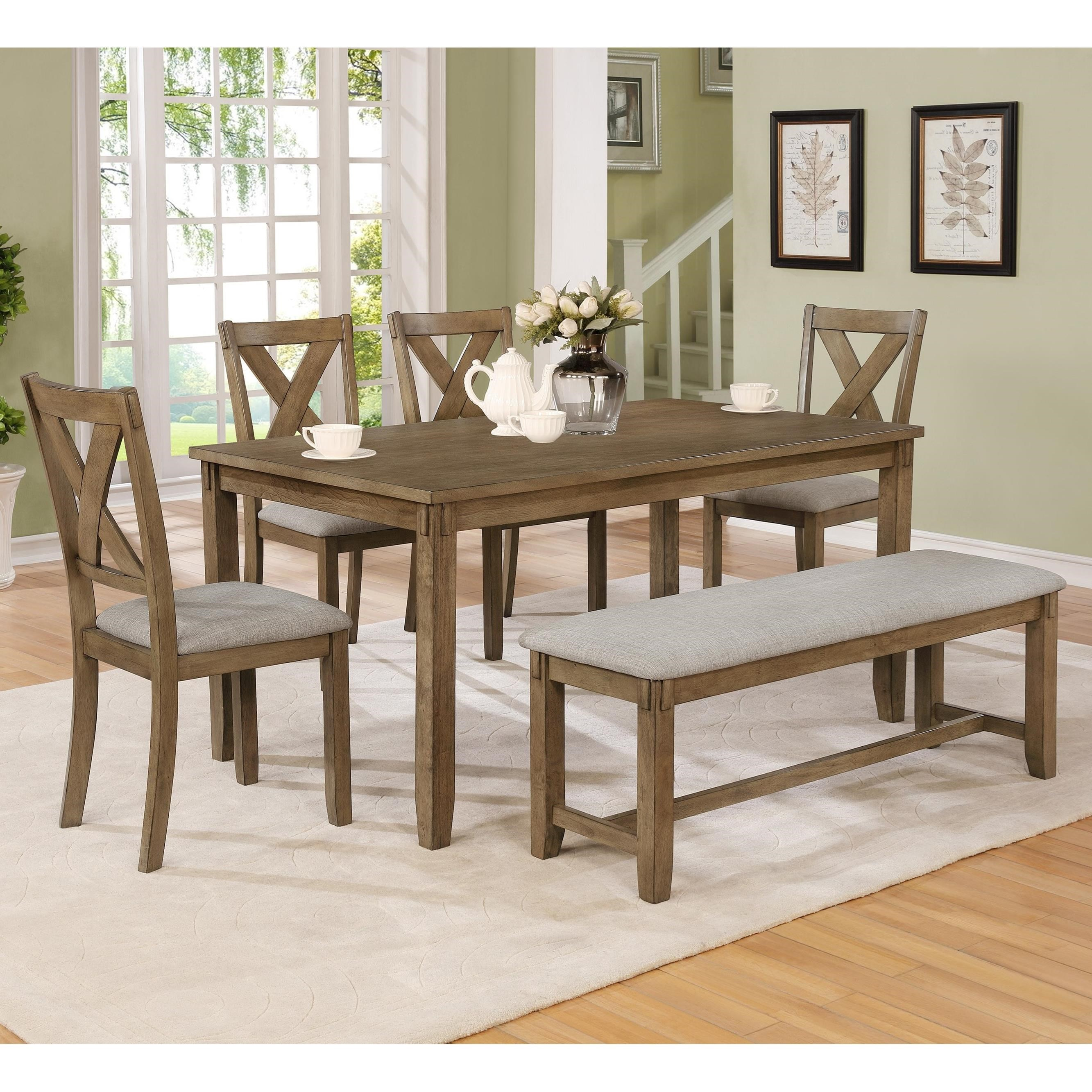 Picture of: Crown Mark Clara 6 Piece Table Set With Bench And Chairs Royal Furniture Table Chair Set With Bench