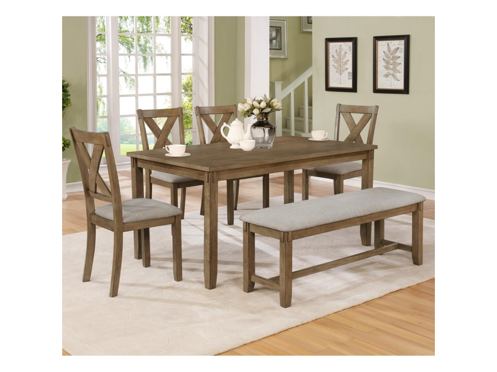 Crown Mark Clara6 Piece Table and Chairs Set