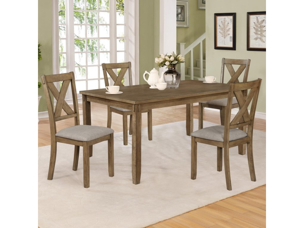 Crown Mark Clara 2321wt Set 5 Piece Table And Chairs Set Household