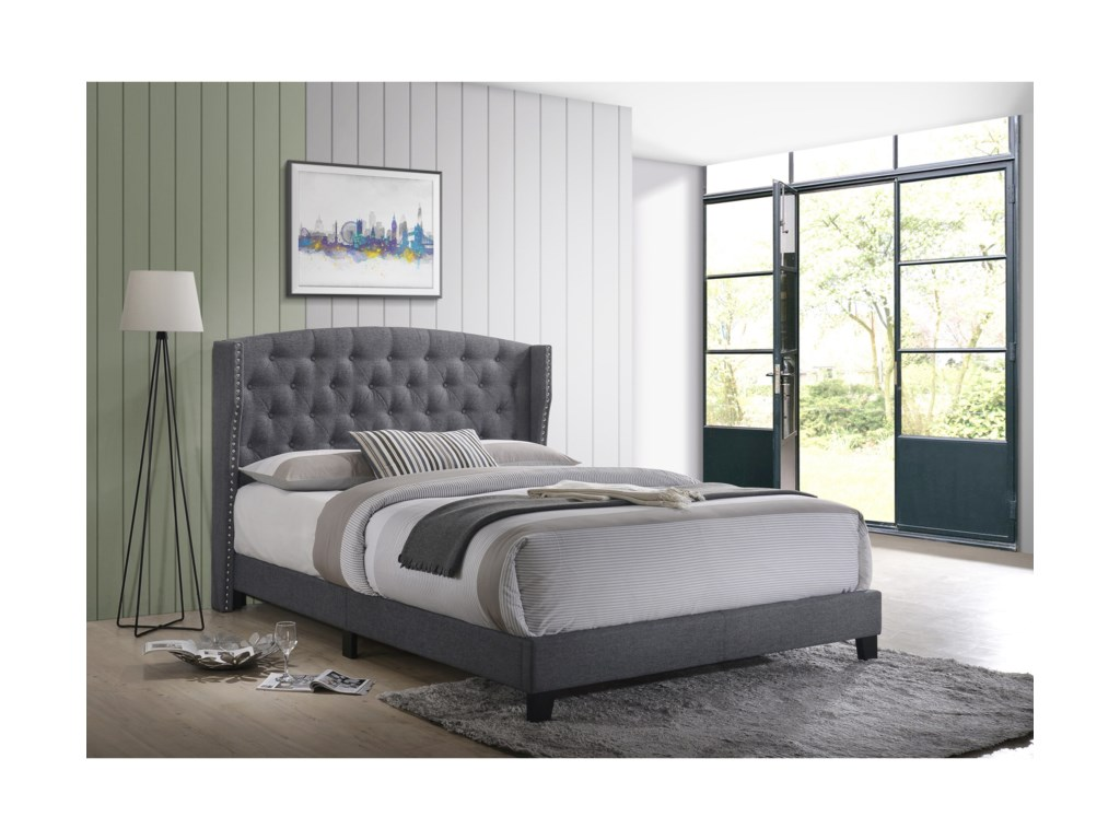Crown Mark RosemaryQueen Upholstered Bed
