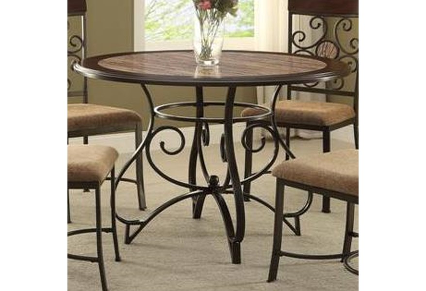 Crown Mark Sarah Casual Dining Table with Scoll Design ...