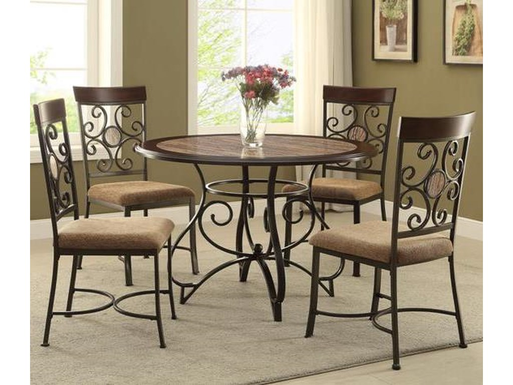 Crown mark sarah casual table and chair set with scroll motif