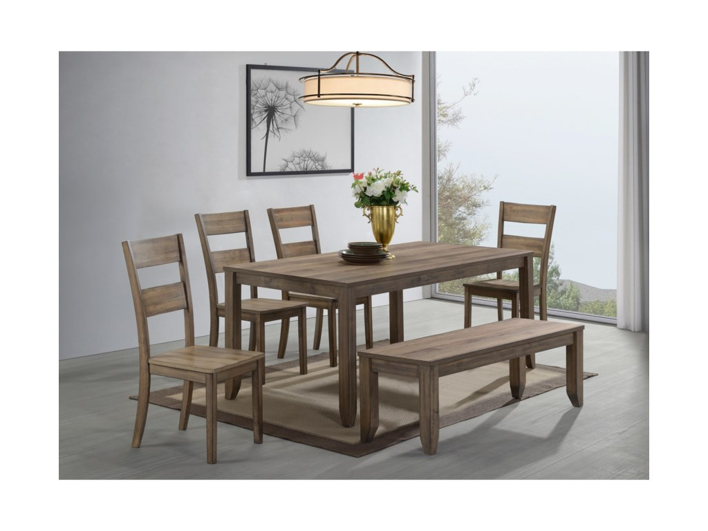 ROOMS # 1 Collection Sean6 Piece Dining Set with Bench