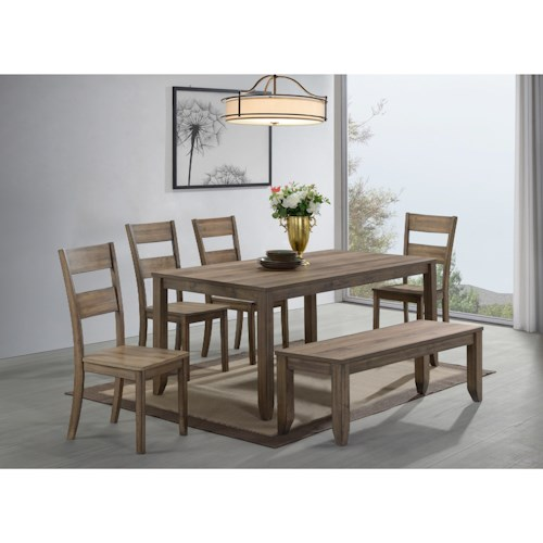 Crown Mark Sean 6 Piece Dining Set with Bench