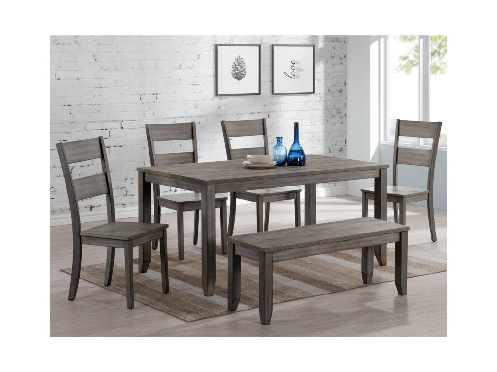Crown Mark Sean 6 Piece Dining Set With Bench Wayside Furniture Table Chair Set With Bench