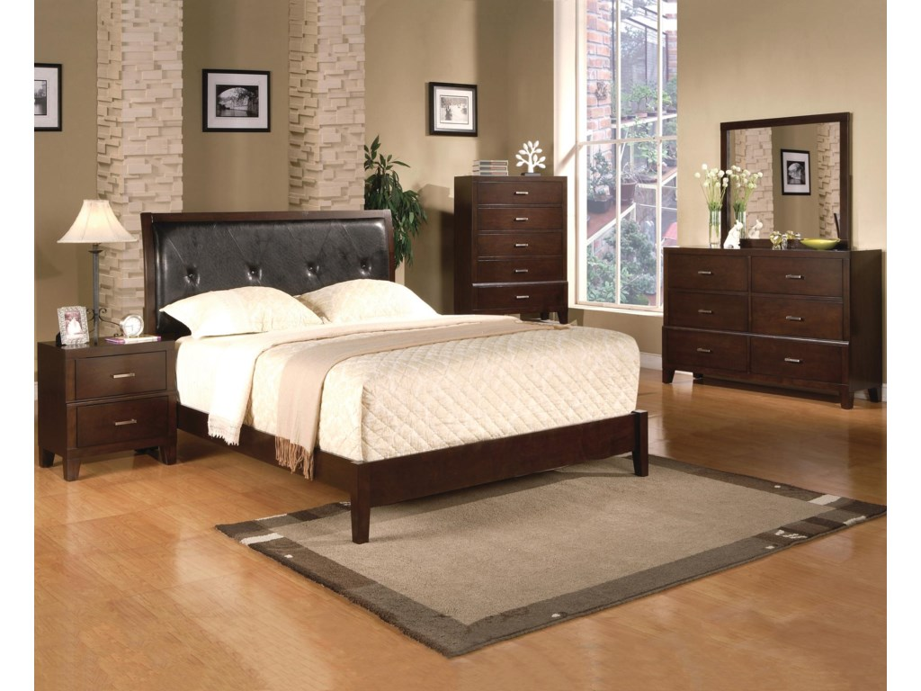 Shown with Coordinating Upholstered Bed, Chest, and Dresser with Mirror Combination