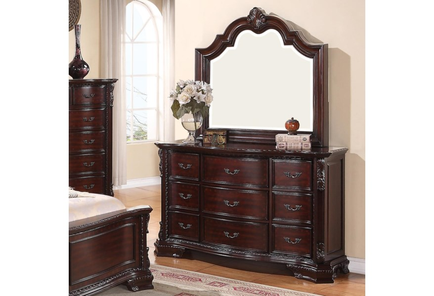 Sheffield 9 Drawer Dresser and Mirror Set by Crown Mark at Northeast  Factory Direct