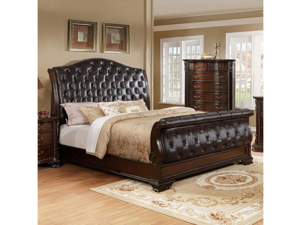 Crown Mark Sheffield Upholstered Queen Sleigh Bed With Button - Bedroom furniture shops in sheffield