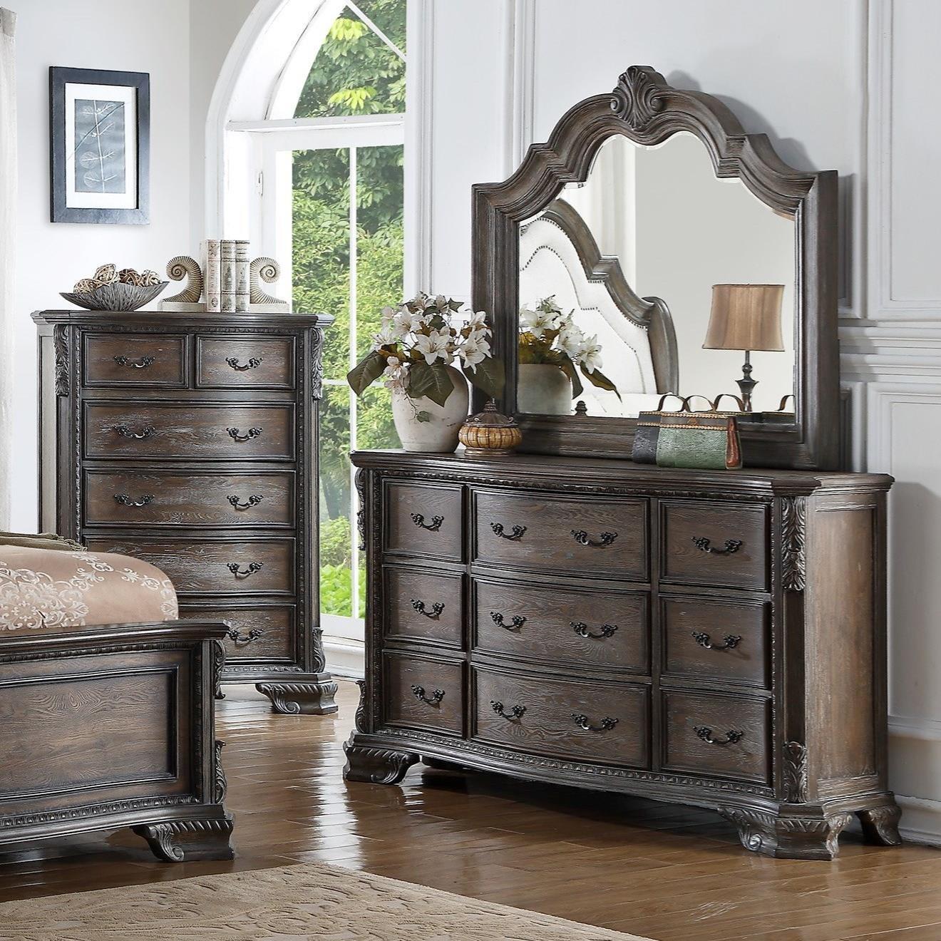 Crown Mark Sheffield 9 Drawer Dresser And Mirror Set Wayside Furniture Dresser Mirror Sets