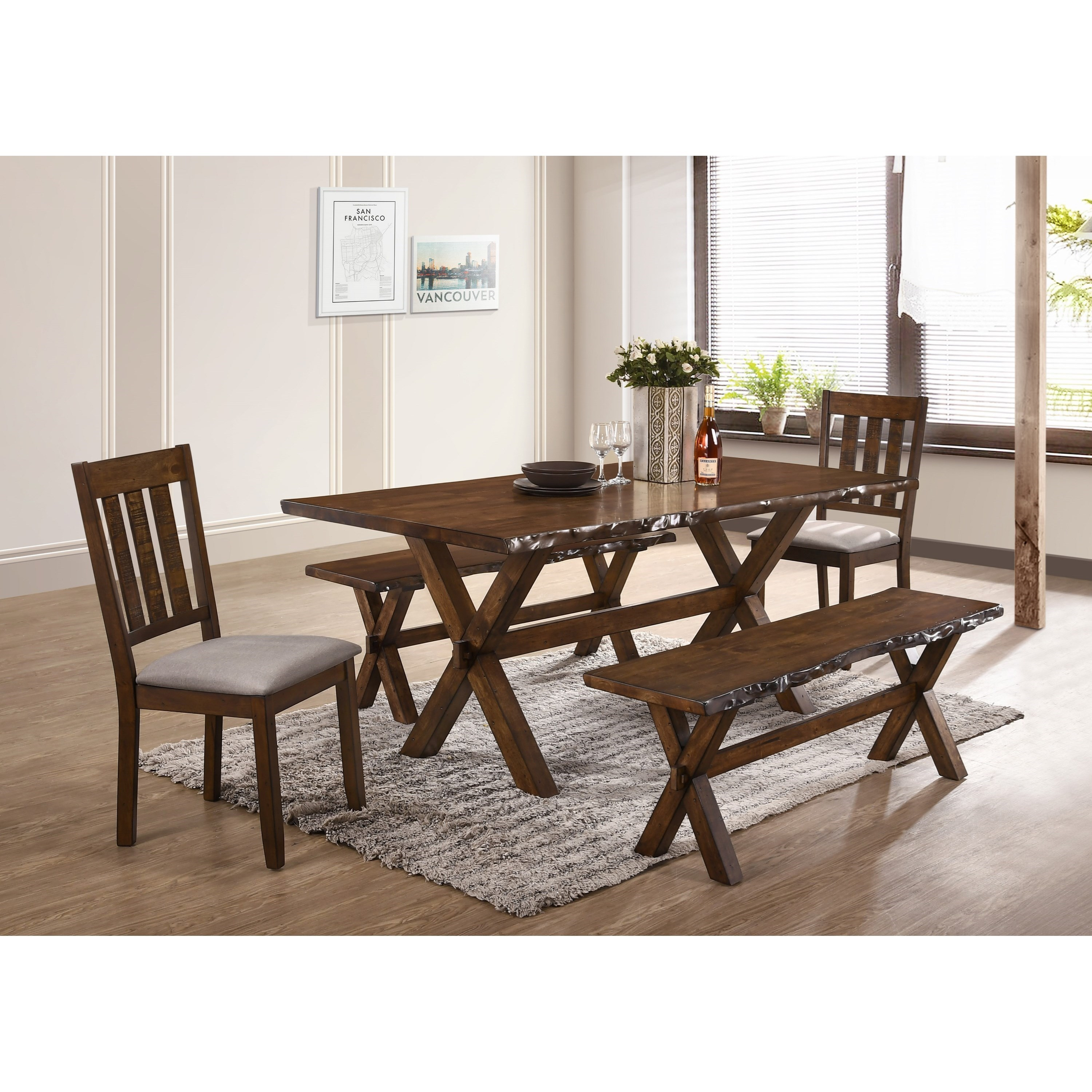 Superbe Crown Mark Sherwood 5 Piece Live Edge Table And Bench Set With Upholstered  Chairs